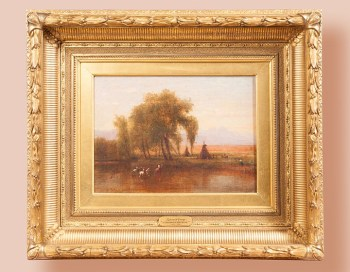 INDIANS RETURNING TO CAMP, PLATTE RIVER BY T. WORTHINGTON WHITTREDGE