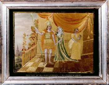 Silk and Water Color Embroidered Picture Of Hector And Andromache