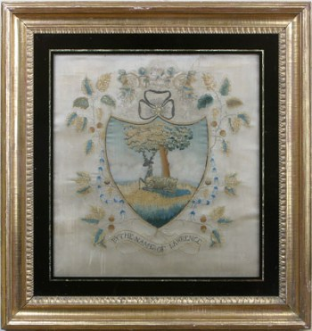 SILK-ON-SILK NEEDLEWORK COAT OF ARMS OF THE LAWRENCE FAMILY