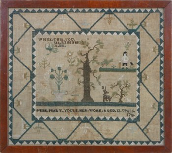 IMPORTANT PICTORIAL SAMPLER WORKED BY MARY YOULE AGED 12