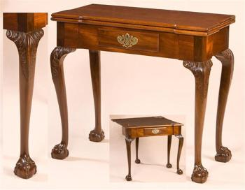 THE GREGORY AND LUCRETIA HUBBARD TOWNSEND CHIPPENDALE CARD TABLE