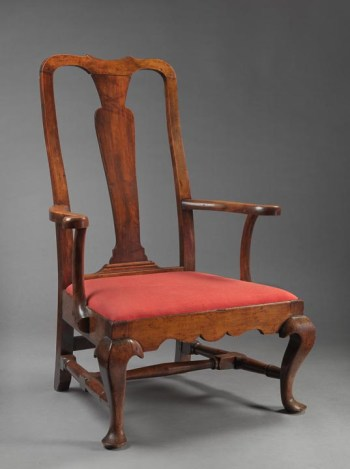 RARE AND IMPORTANT QUEEN ANNE SLIPPER ARMCHAIR New England