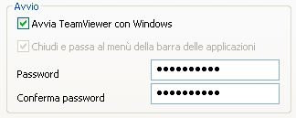 TeamViewer Opzioni Password