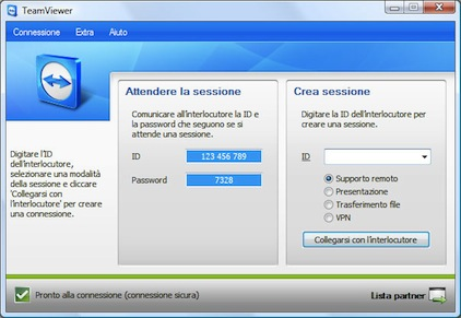 TeamViewer Start Screen