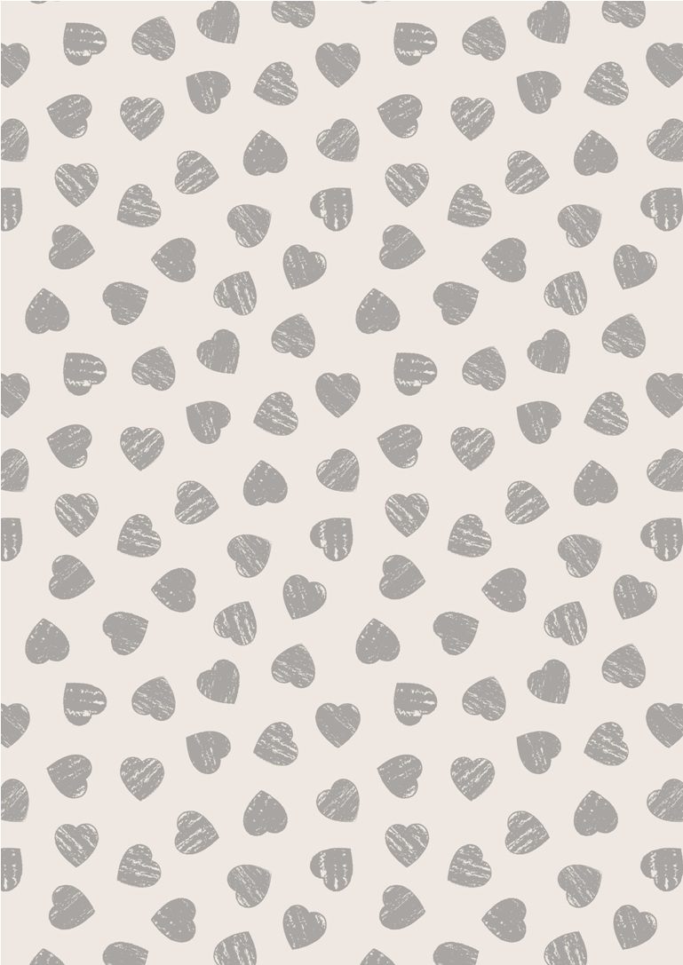 A168.2 - Grey hearts on light cream