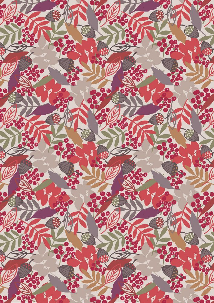 A113.2 - Acorns & leaves on cream
