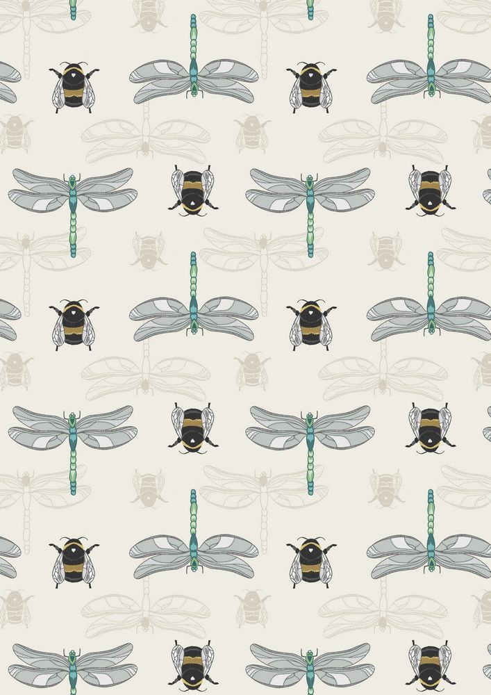 A123.1 - Cream dragonfly & bee