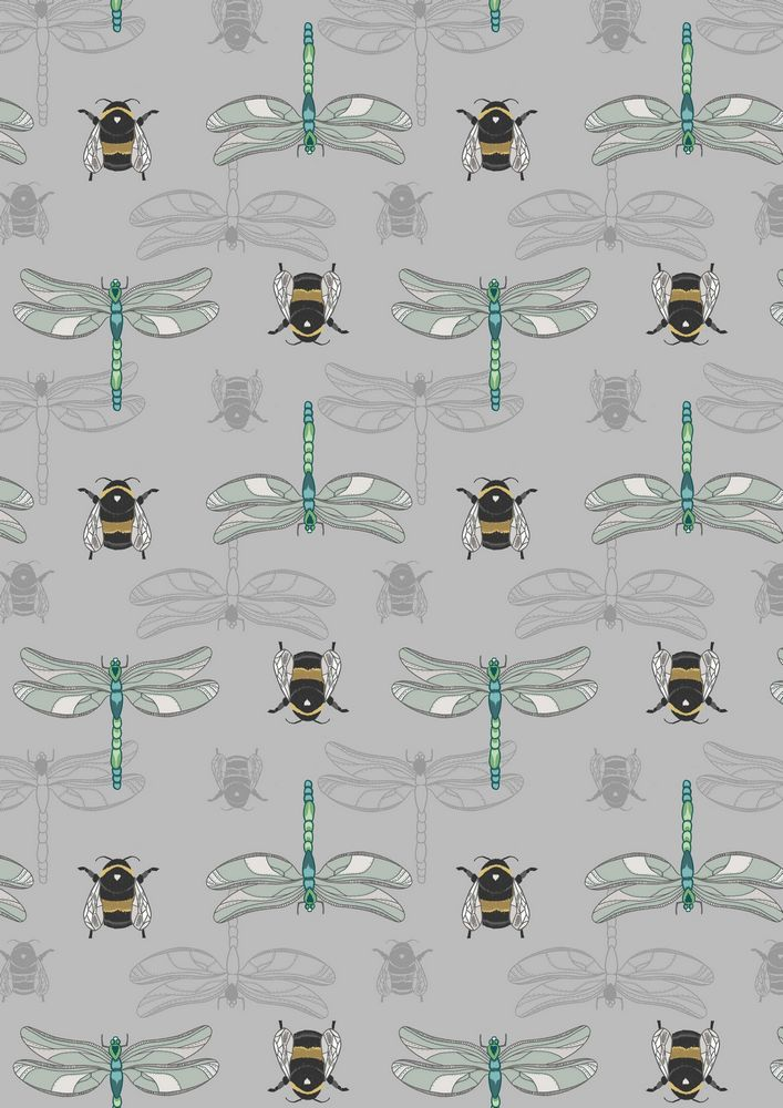 A123.3 - Grey dragonfly & bee