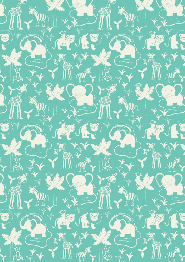 A51.3 - Safari animals on turquoise