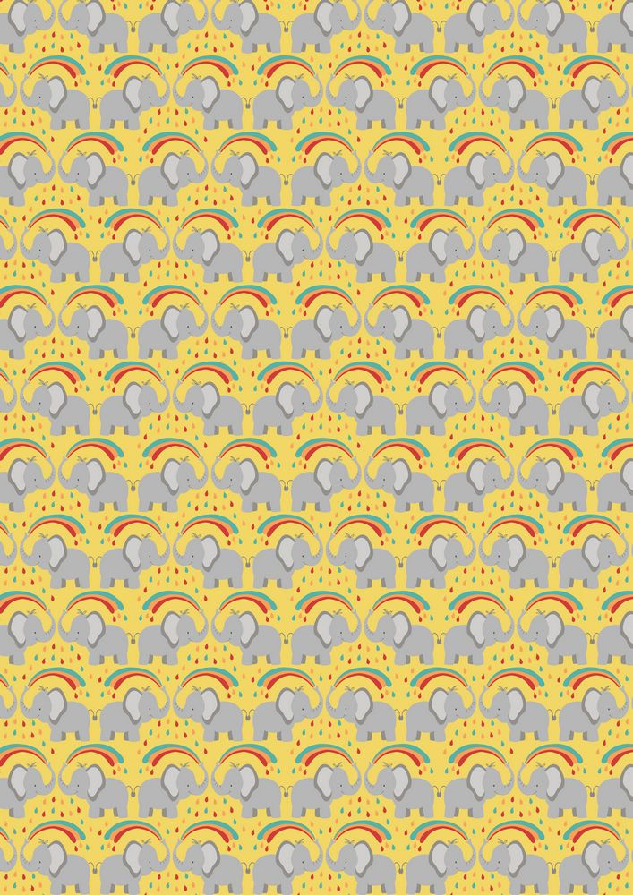 A53.2 - Rainbow splash elephant on yellow