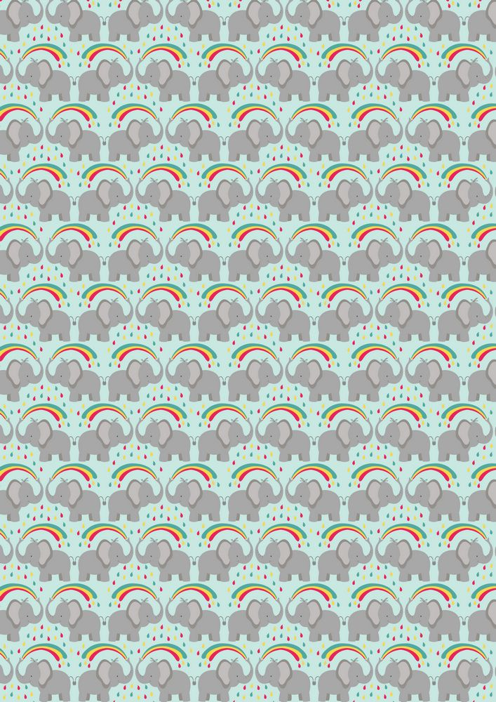 A53.3 - Rainbow splash elephant on pale blue