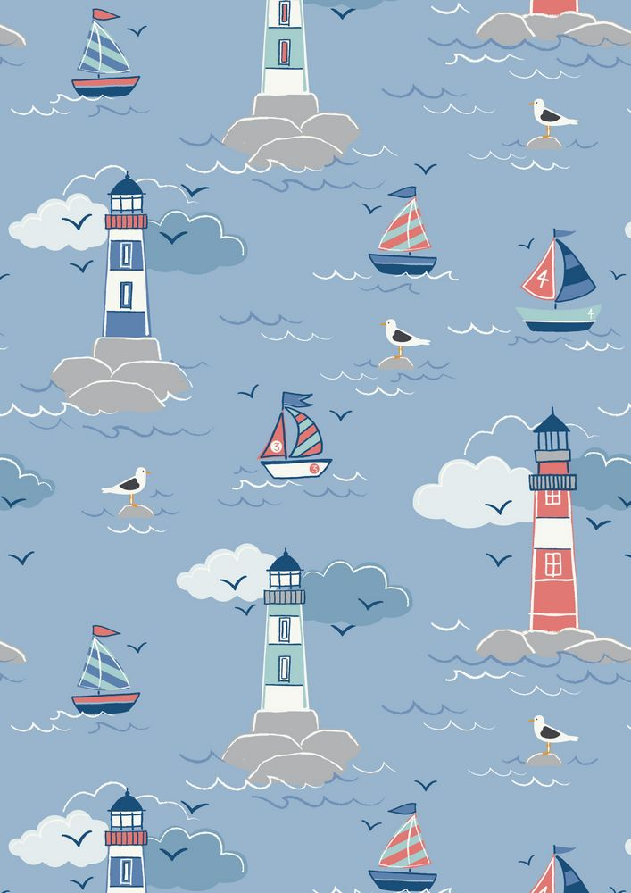 A75.3 - Lighthouse on sea blue
