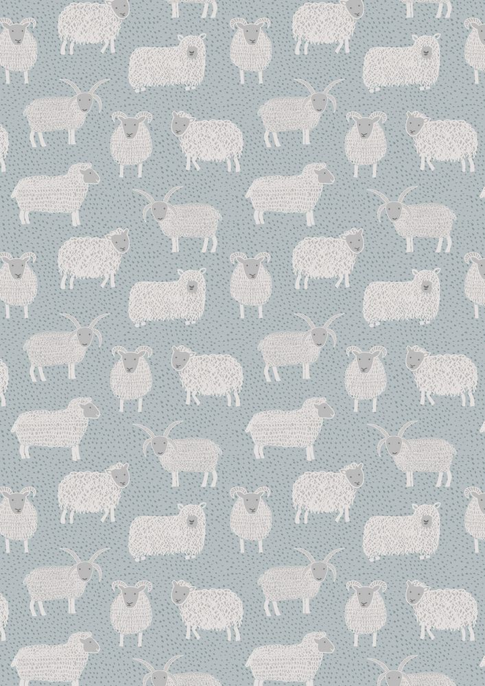 A94.1 - Woolly sheep on country blue