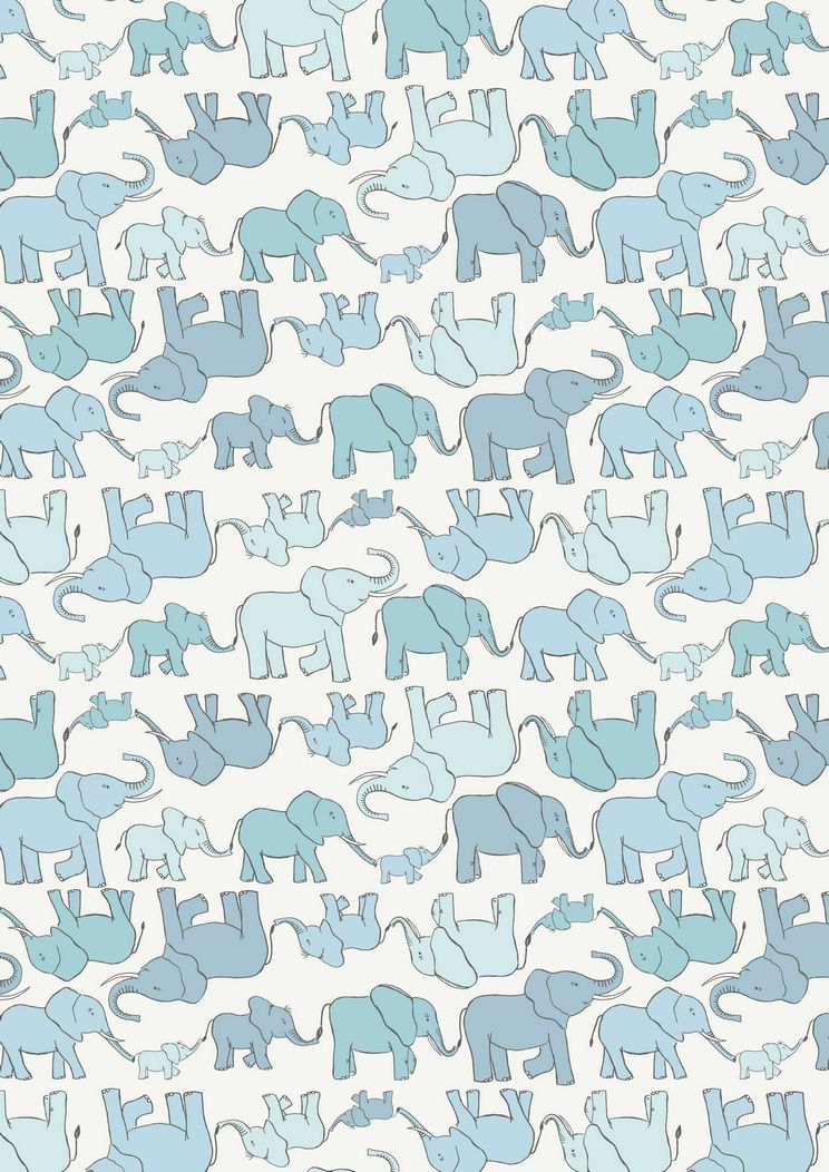 A216.1 - Marching elephant family blue