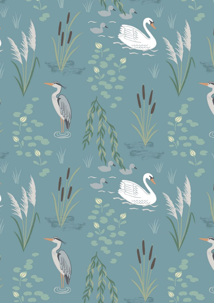 A220.2 - Swan and Heron on teal