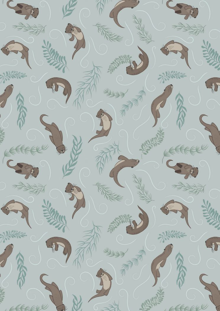 A222.1 - Playful otters on pale blue