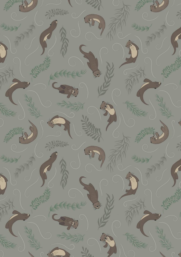 A222.3 - Playful otters on dark pebble