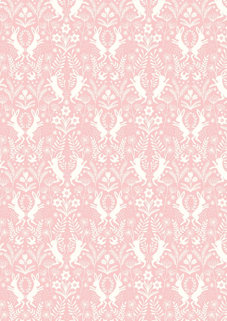 A64.5 - Little hares white on pink