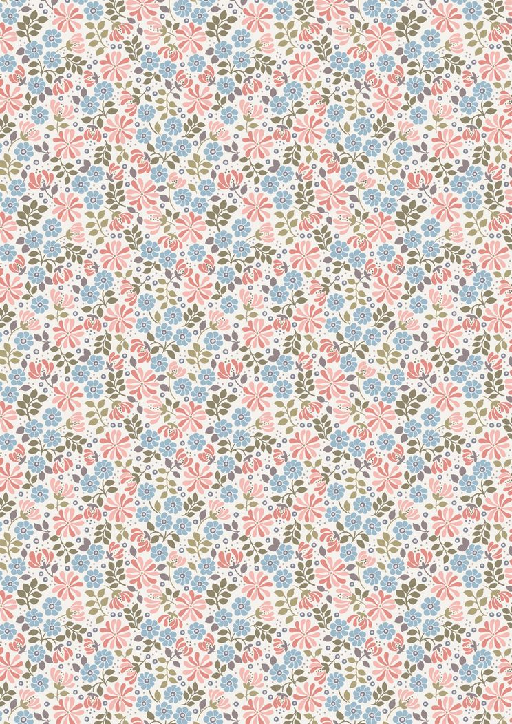 FLO7.2 - Floral leaves on pink and blue