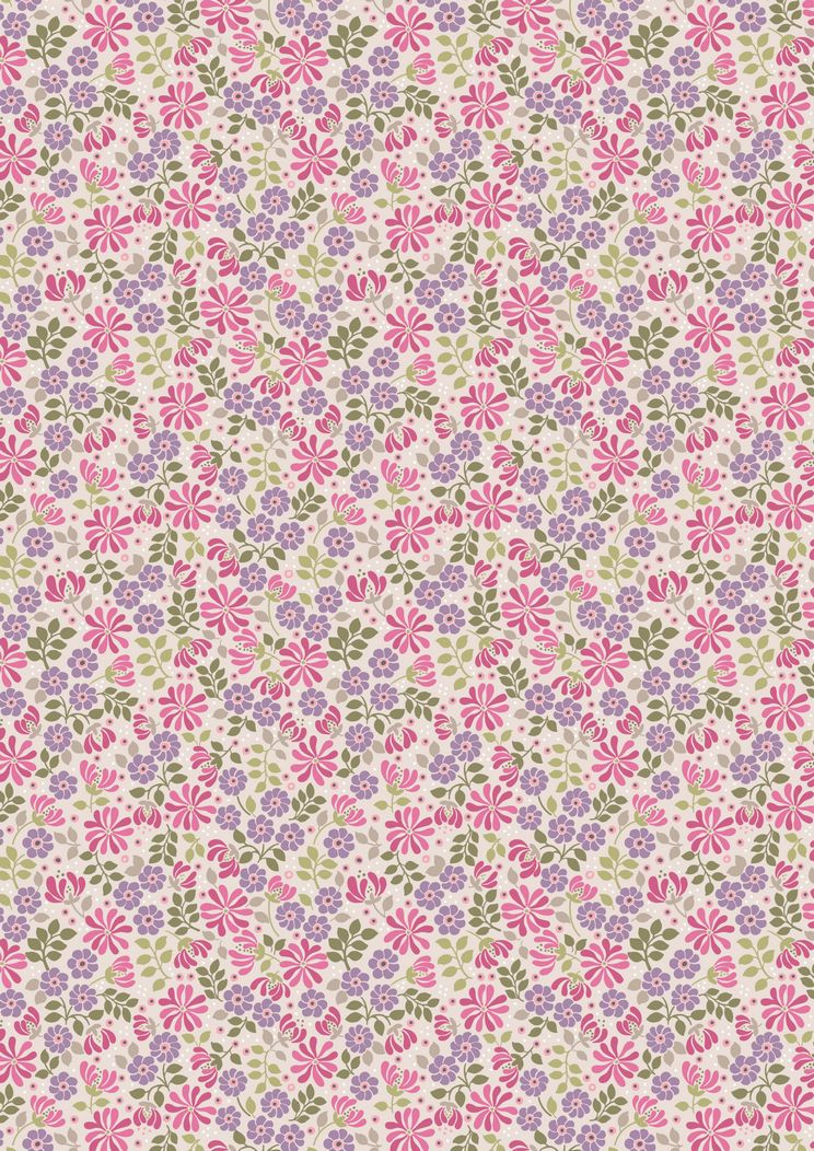 FLO7.3 - Floral leaves on pink