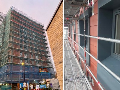 A photo of Hatfield 1 tower showing the new terracotta cladding and windows