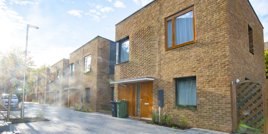 Photograph of the new homes on Merchants Place