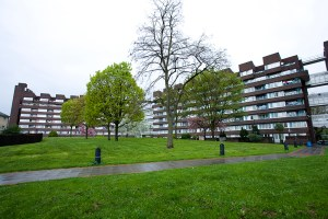 v|iew of flats on the Pepys estate