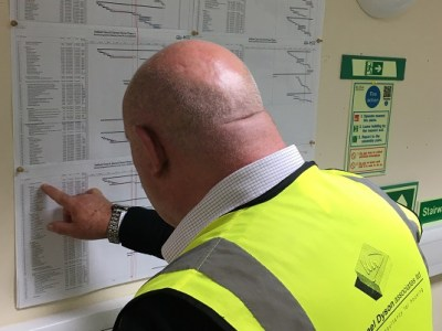 The clerk of works examining the programme plan chart