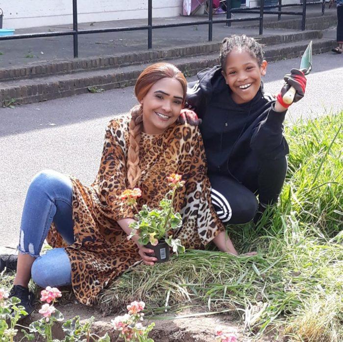 Some residents enjoying gardening