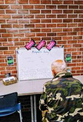 Centralia Library's poetry display offers a fun, creative space. Photo courtesy: Centralia Timberland Library.