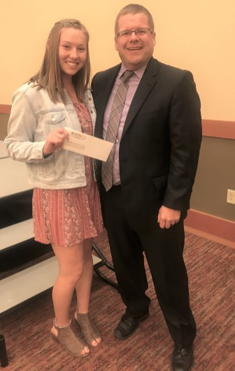 Centralia Community Foundation Scholarship recipient Danika Jensen with Lewis County Prosecutor Jonathan Myer, a board member of Centralia Community Foundation. Photo credit: Centralia Chehalis Chamber of Commerce.