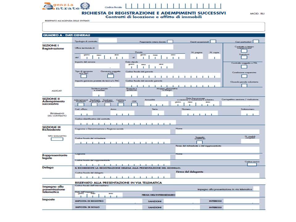 Modello Registrazione Contratti Di Locazione Versione Rli