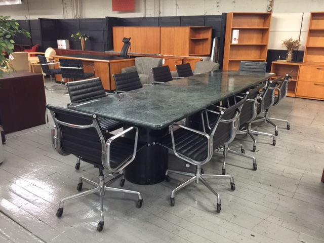 V1  Green Granite Conference Table w Black Metal