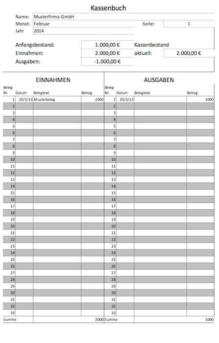 Kassenbuch Vorlagen Gratis Fr Microsoft Excel Und Als Pdf