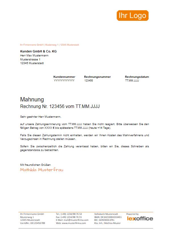 Kostenlose Rechnungvorlage  Musterrechnung ua als PDF