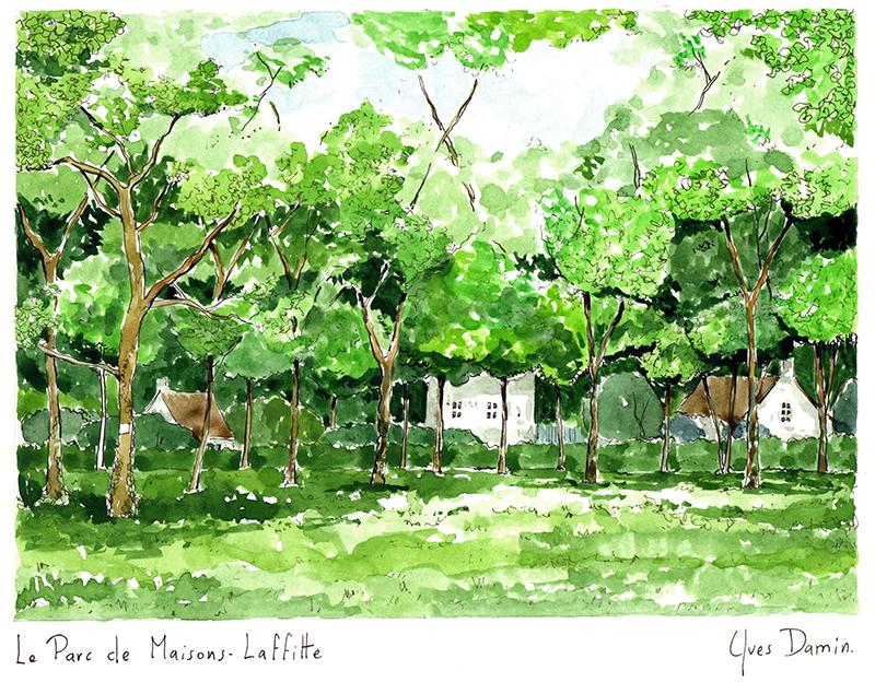 watercolor of the Parc de Maisons Laffitte