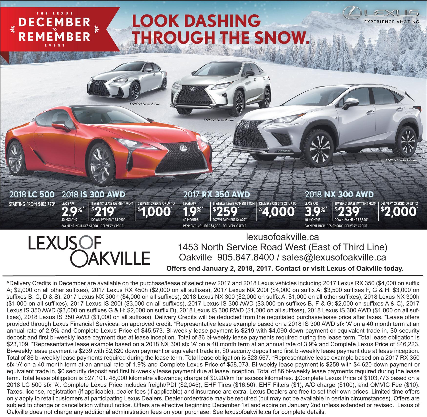 Oakville Lexus incentives