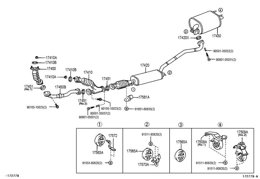2002 Toyota Highlander Parts Diagram Exhaust Cket. Toyota