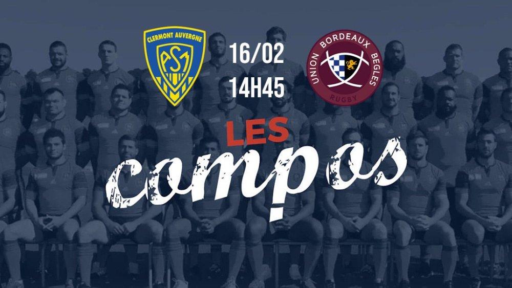 les équipes clermont vs bordeaux rugby top 14 xv de départ 15