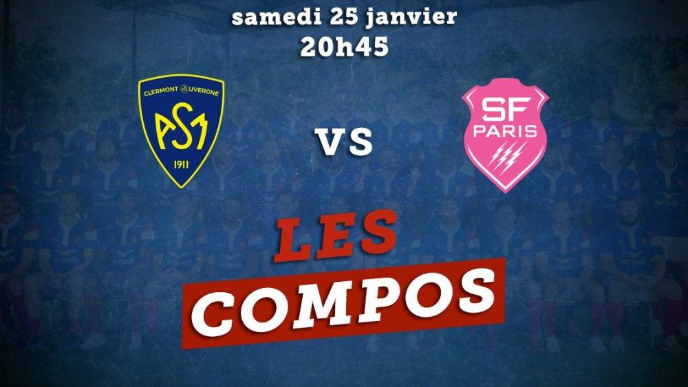 les compositions clermont vs stade français rugby france xv de départ 15