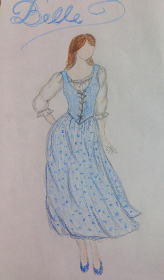 Concept sketch of Belle's blue peasant dress