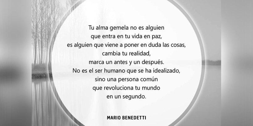 """""""Tu alma gemela no es alguien que entra en tu vida en paz, es alguien que viene a poner en duda las cosas, que cambia tu realidad, alguien que marca un antes y un después en tu vida. No es el ser humano que todo el mundo ha idealizado, sino un apersona común y corriente, que se las arregla para revolucionar tu mundo en un segundo."""" Mario Benedetti"""