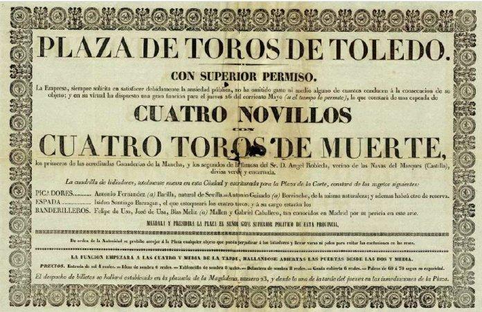 Cartel de la corrida de novillos y toros del 26 de mayo de 1842, con el torero Isidro Santiago Barragán y su cuadrilla. Archivo Municipal de Toledo