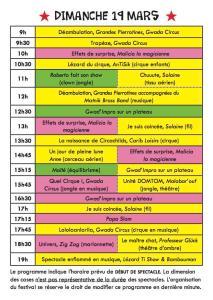 Programmation Dimanche festival Lézard Ti Show 2017