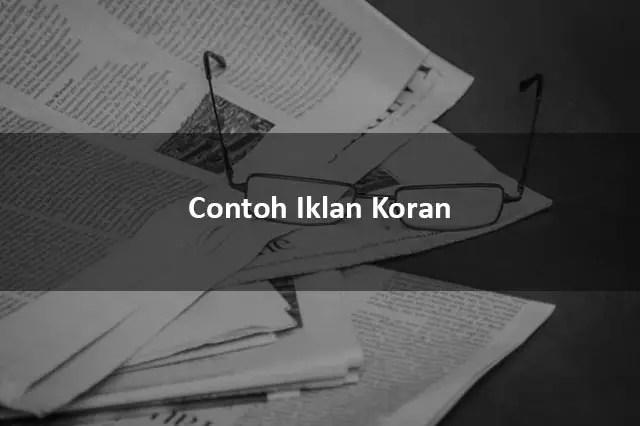 Contoh Iklan Koran