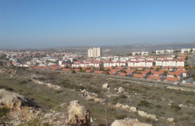 The illegal settlement of Ariel, one out of the four largest settlements in the West Bank