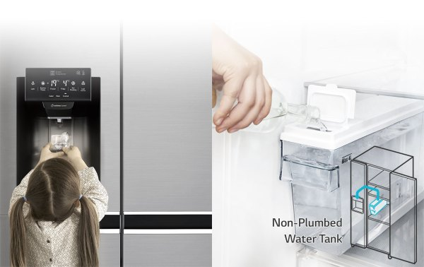 Lg 668l Side Fridge With Plumbed Ice & Water Dispenser - Gs-l668pnl