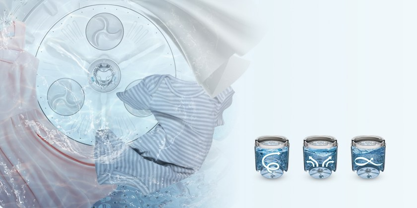 A baby's onesie, a dress, and a sheet are shown in a circle around the bottom inside of the water on the left. Three icons are shown on the bottom right of the image featuring three different motions utilized by the washer. The first icon has an arrow swirling upward in the water in the drum. The second icon has four arrows moving upward and outward in the water in the drum. The third icon has one arrow moving in a figure eight inside the water in the drum.