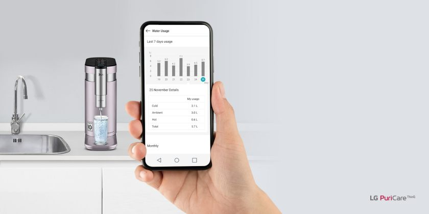 The water purifier sits in the background with a hand holding a phone in the foreground. The phone displays the real time app with status info for the machine.