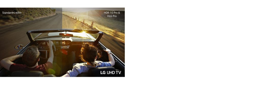 The couple is driving in a car on the road. Half is displayed on a standard screen with poor image quality. The other half is shown with a sharp, vivid LG UHD TV picture.